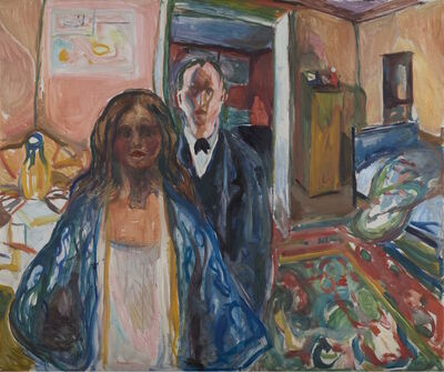 Edvard Munch, 'The Artist and his Model', 1919-1921