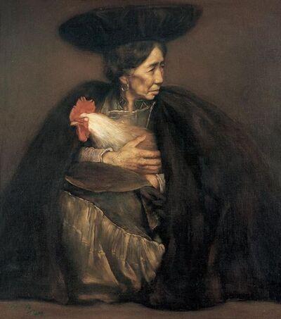 Pang Maokun, 'Oil Woman and Her Pet', 1988