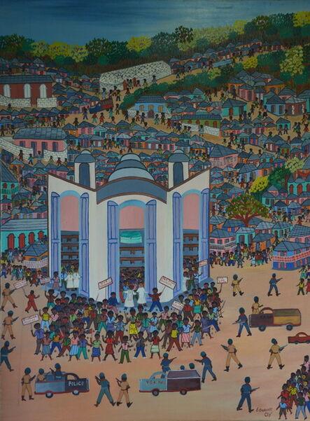 Etienne Chavannes, 'Manifestation devant l'église'