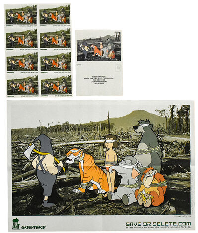 Banksy, 'SAVE OR DELETE (Greenpeace Poster With Stickers and Postcard)', 2002