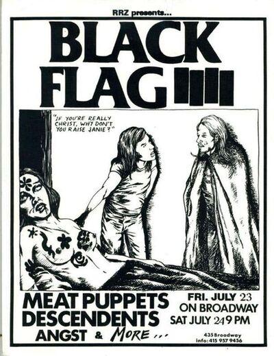 Raymond Pettibon, 'Raymond Pettibon 1982 illustrated Black Flag Flyer ', 1982