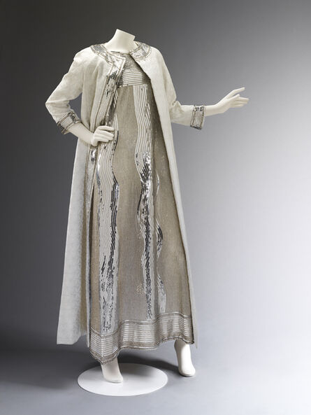 Mila Schön, 'Evening dress of embroidered net and matelasse coat', 1966