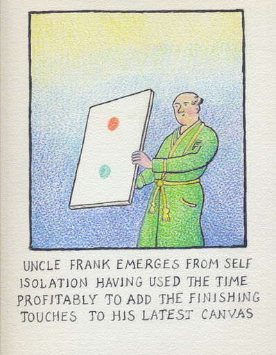 Glen Baxter, 'Uncle Frank emerges from self isolation...', 2020