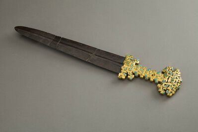 Unknown Artist, 'Iron Sword with Gold Hilt Decorated with Panhui Patterns and Turquoises', Late Spring, and, Autumn period, 600, 500 BC