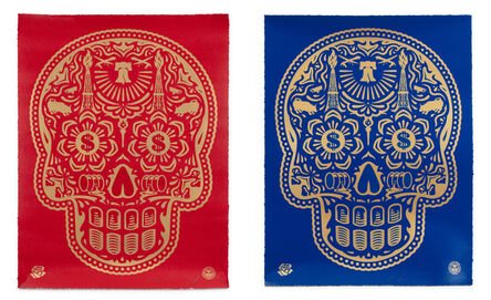 Shepard Fairey, 'SET OF 2 POWER & GLORY DAY OF THE DEAD SKULL (BLUE) & (RED) - HPM', ca. 2020