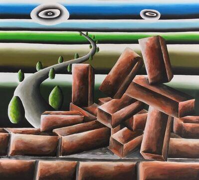 Andreas Schulze (b. 1955), 'Backsteine mit Landschaft', 2018