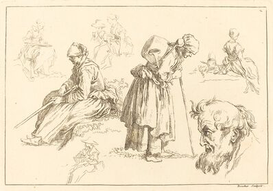François Boucher after Abraham Bloemaert, 'Figure Studies including Woman with a Kettle', published 1735