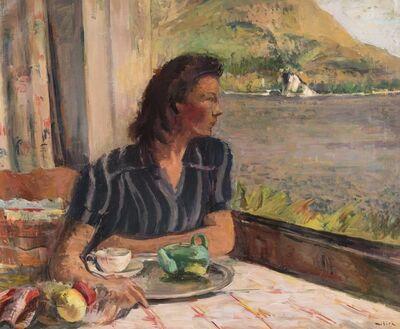 Adolf Milich, 'Portrait de la femme de l'artiste au lac Léman'