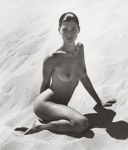 Herb Ritts, 'Carré Sitting in Sand I', 1988