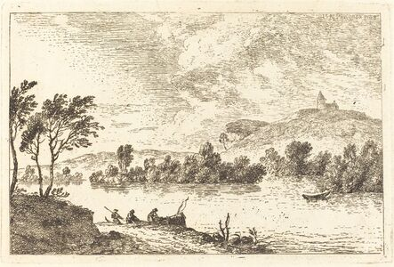 Nicolas Pérignon, 'River Landscape with Figures and a Boat at Water's Edge', 1768