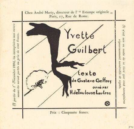 Henri de Toulouse-Lautrec, 'Advertisement for the Album Yvette Guilbert', 1894