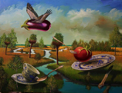 Bill Mead, 'Flying Eggplant, Tomato and Teacups', 2014