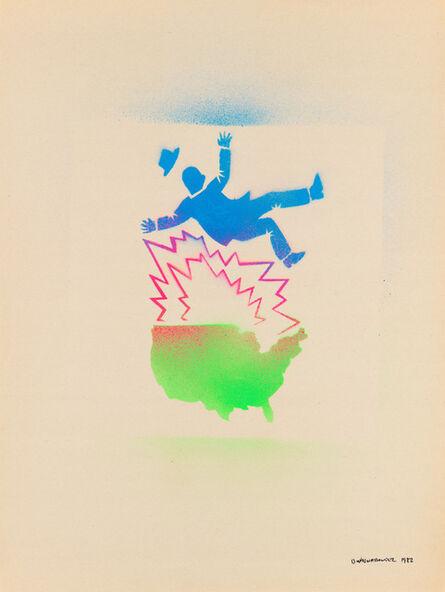 David Wojnarowicz, 'Untitled (Falling man and map of the U.S.A.)', 1982