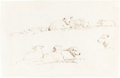 George Richmond, 'Studies of Sheep in Pasture', ca. 1837/1839