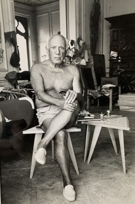 Edward Quinn, 'Picasso sits on a little chair in his Villa La Californie, Cannes', 1961
