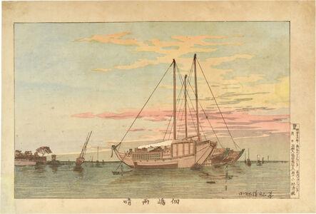 Kobayashi Kiyochika 小林清親, 'Clear Weather after Rain at Tsukudajima ', ca. 1880