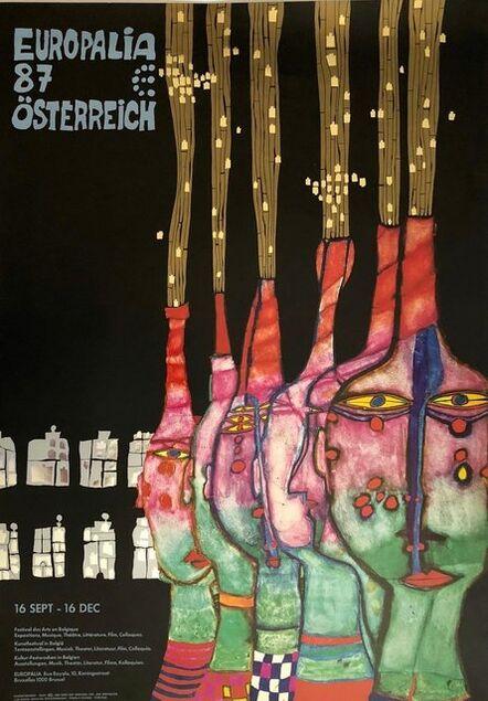 Friedensreich Hundertwasser, 'Vintage Europalia 87 Osterreich Metal Foil Print Offset Lithograph Poster', 1980-1989