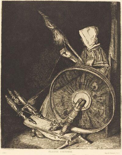 François Bonvin, 'Fileuse Bretonne (Breton Spinner)', 1861