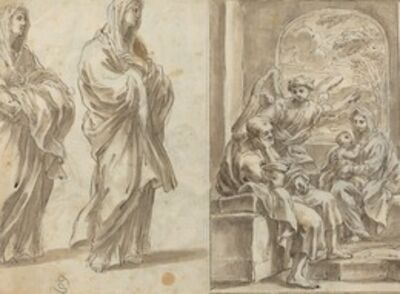 Angelo Marullo, 'Two Draped Female Figures; Rest on the Flight into Egypt [verso]'
