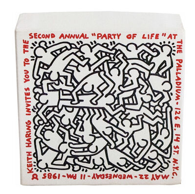Keith Haring, 'Party of Life puzzle invitation', 1985