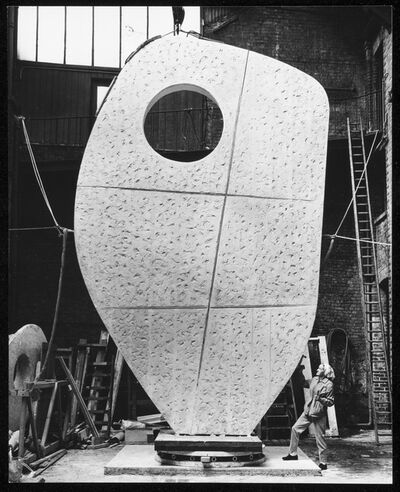 Barbara Hepworth, 'Barbara Hepworth with the plaster of Single Form 1961-4 at the Morris Singer foundry, London, May', 1963