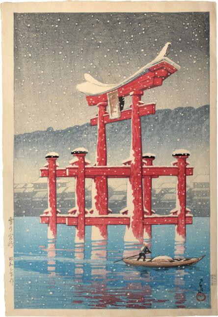 Kawase Hasui, 'Souvenirs of Travel, Third Series: Snow at Miyajima', 1928