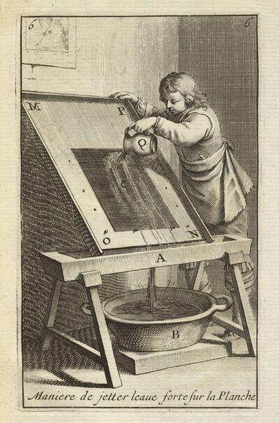 Abraham Bosse, 'Maniere de jetter leaue forte sur la planche', 1645