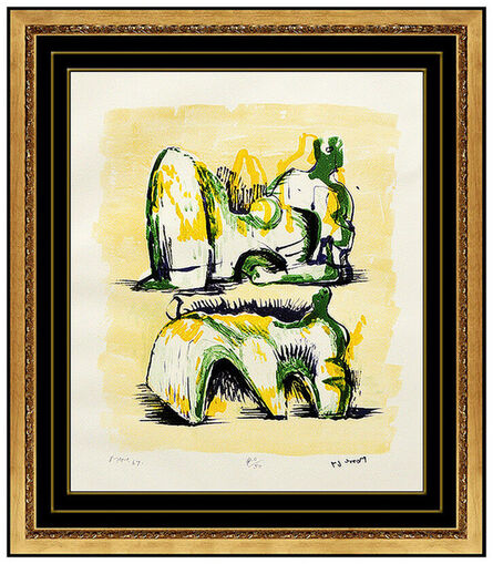 Henry Moore, 'Two Reclining Figures In Yellow And Green', 1950-1969