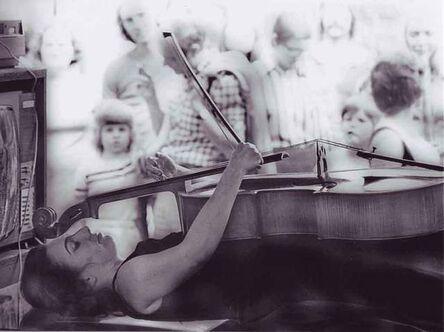 Hartmut Beifuss, 'Charlotte Moorman performing Nam June Paik's TV Bed, Bochum Art Week, Bochum, West Germany', 1973