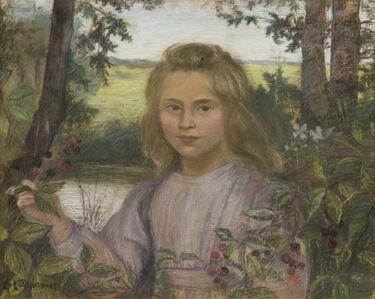 Lucien Lévy-Dhurmer, 'Jeune  lle dans un jardin'