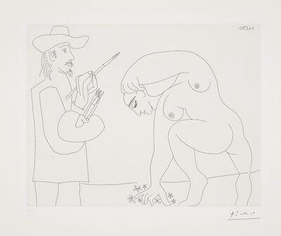 Pablo Picasso, 'Peintre et femme cueillant des fleurs (Painter and Woman Picking Flowers), plate 56 from Séries 156', 1970