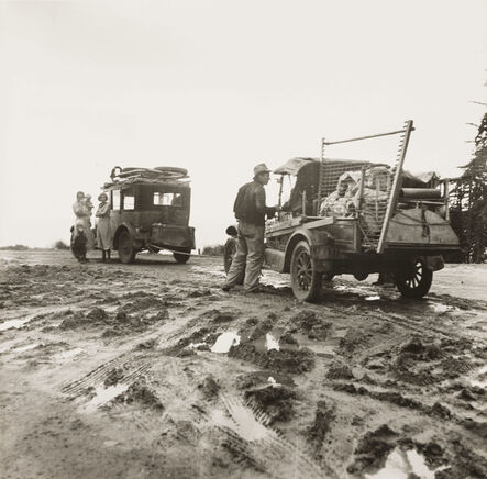 Dorothea Lange, 'One migrant family hauls the broken-down car of the other to the fields at Nipomo', 1936