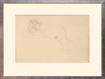Gustav Klimt, 'Liegender, weiblicher Akt, mit Zopf. Lying, Female Nude, with Pigtail.', 1919