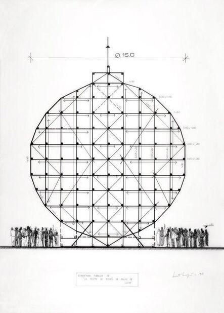 """Marta Minujín, 'Estructura tubular de """"la pelota de fútbol de dulce de leche""""', 1981"""