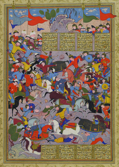 'Giv Charges into Battle against Piran, folio 185a from the Peck Shahnama', 1589-1590
