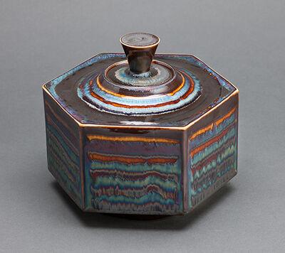 Hideaki Miyamura, 'Hexagon box, blue waves glaze'