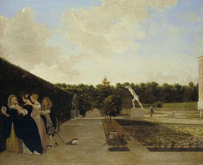 Ludolf de Jongh, 'A Formal Garden: Three Ladies Surprised by a Gentleman', 1676