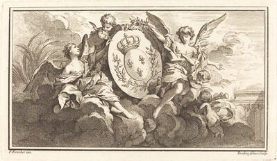 Pierre François Tardieu or Jacques Nicolas Tardieu after François Boucher, 'Royal Coat of Arms of Louis XV', ca. 1745