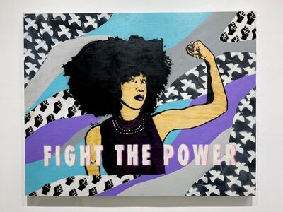 Amy Smith, 'Fight the Power -  Female POP Art (Purple + Teal + Black + White)', 2021