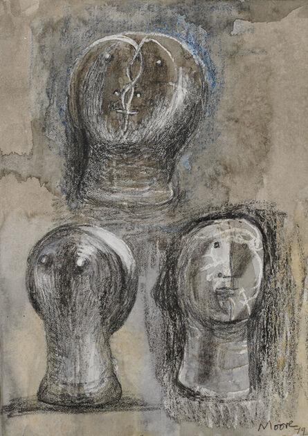 Henry Moore, 'Three Heads', 1979