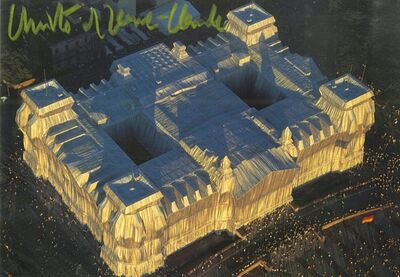 Christo, 'Wrapped Reichstag (Hand Signed Christo et Jeanne Claude) from the collection of Jeanne-Claude's personal assistant', 1995
