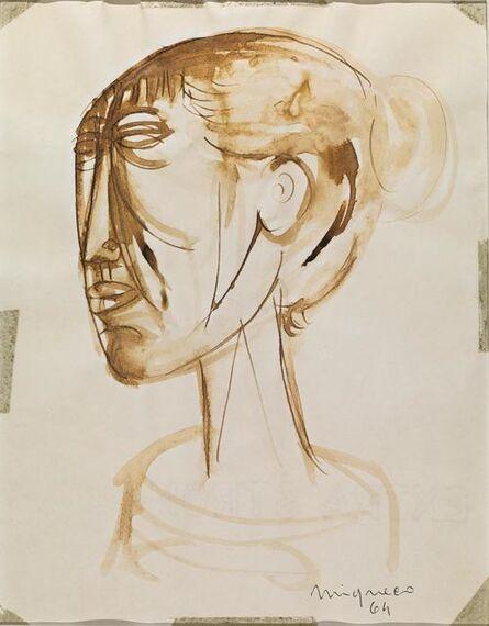 Giuseppe Migneco, 'Untitled, volto femminile', 1964