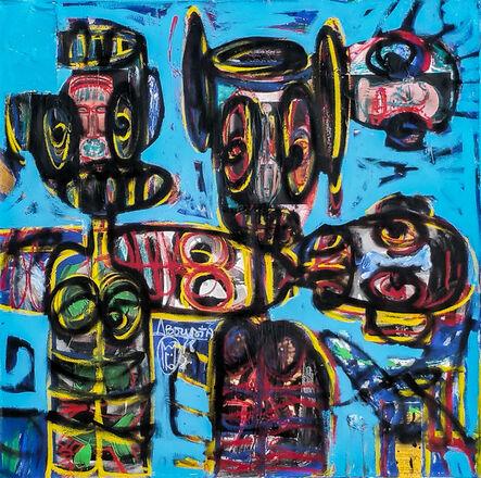 Aboudia, 'Visages et deux masques', 2017