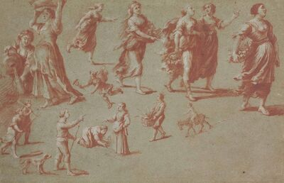 'Peasant women and men carrying baskets and staffs, pouring water from a jug and riding a donkey, with a subsidiary study of Mars'