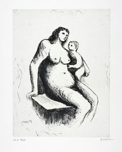 Henry Moore, 'Henry Moore, Plate V, Mother & Child (C. 675), Etching and aquatint and roulette printed in colours, Signed', 1983