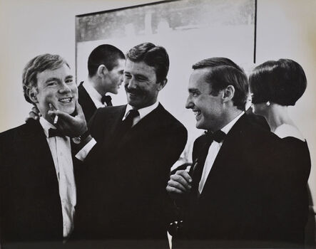 Julian Wasser, 'Andy Warhol, Irving Blum, Billy Al Bengston and Dennis Hopper, at the Opening Reception, Duchamp Retrospective, Pasadena art Museum,', 1963