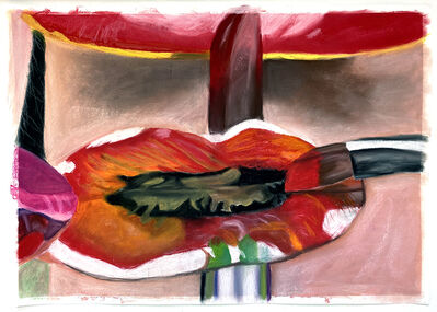 Gina Beavers, 'Painting Georgia O'Keefe on My Lips', 2021