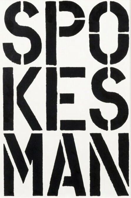 Christopher Wool, 'Spokesman', 1989