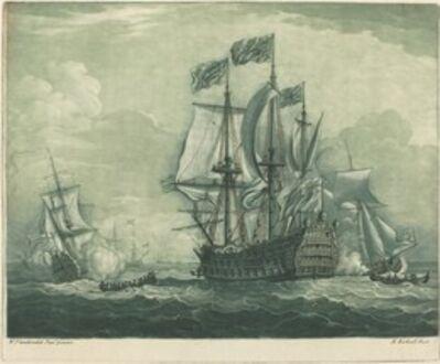Elisha Kirkall after Willem van de Velde the Younger, 'Shipping Scene with Man-of-War', 1720s