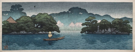 Kawase Hasui, 'Pictures of the Mitsubishi Fukagawa Villa: Small Boat in Spring Shower', 1920